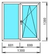 Окно двухстворчатое с одной створкой 1300*1380 из профиля КВЕ 58мм, RotoNT