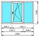 Окно трехтворчатое с одной створкой 2050*1380 из профиля КВЕ 58мм, RotoNT